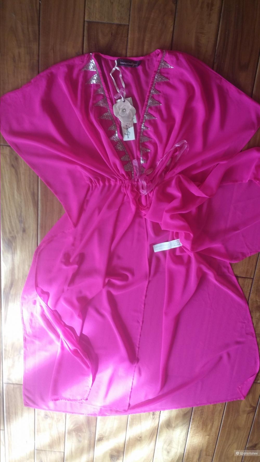 Пляжная туника-халат Boohoo boutique, цвет неоновая фуксия, S, реально до L