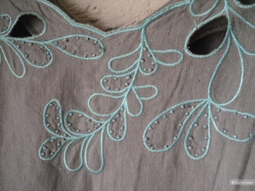 Льняное летнее платье, Турция, 48 размер российский.