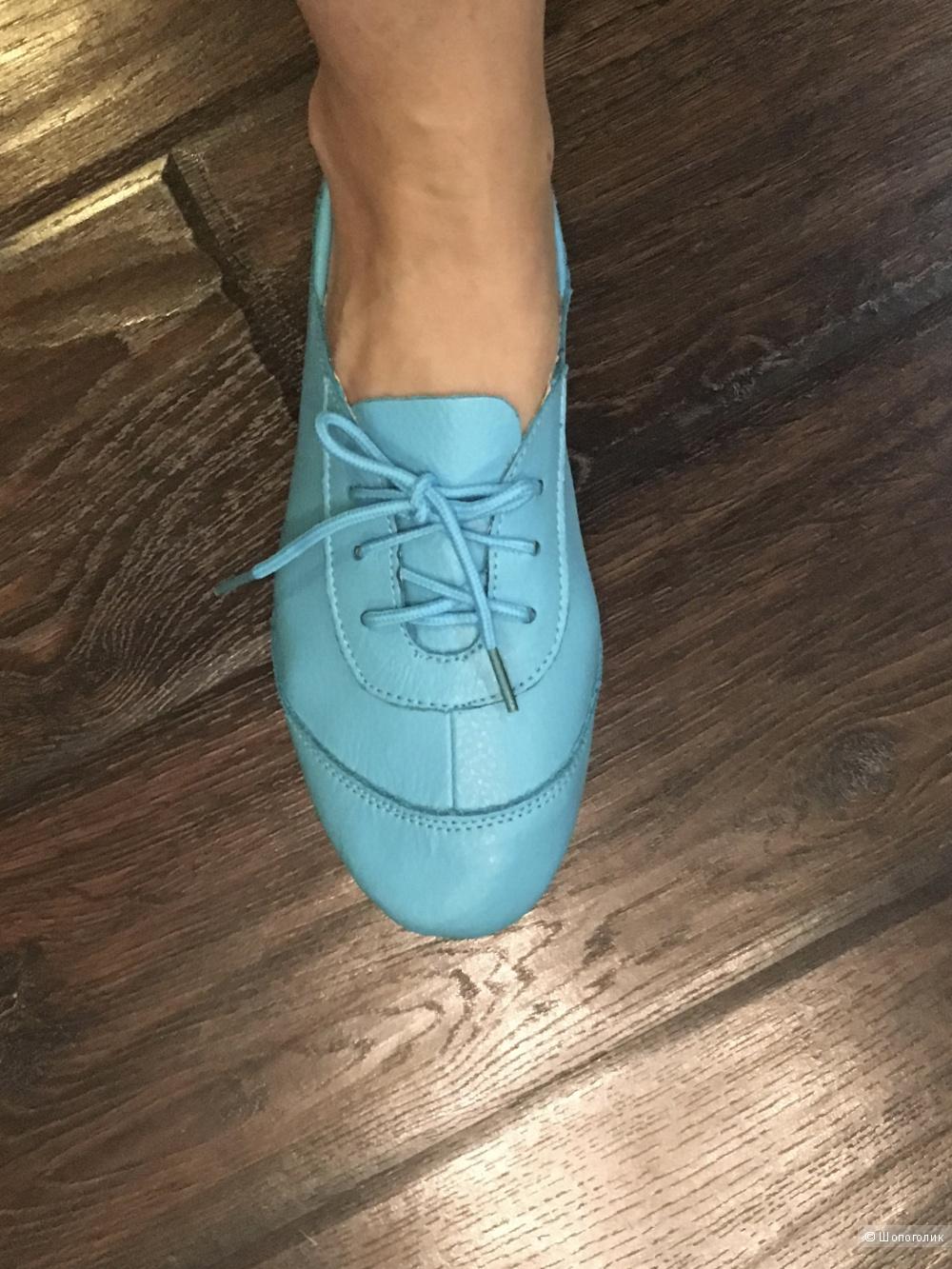 Кожаные мокасины на шнурках, размер 39, по стельке 24,5 см