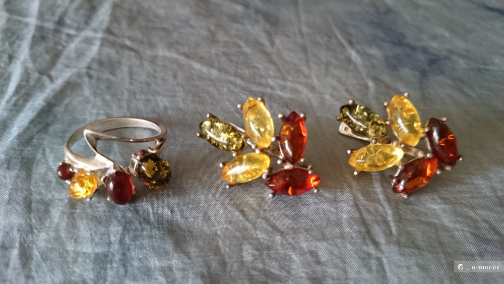 Серебряные украшения с янтарем no name one size