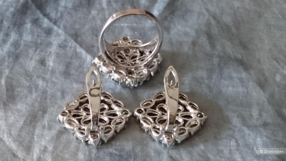 Бижутерия серьги и кольцо no name размер кольца 18