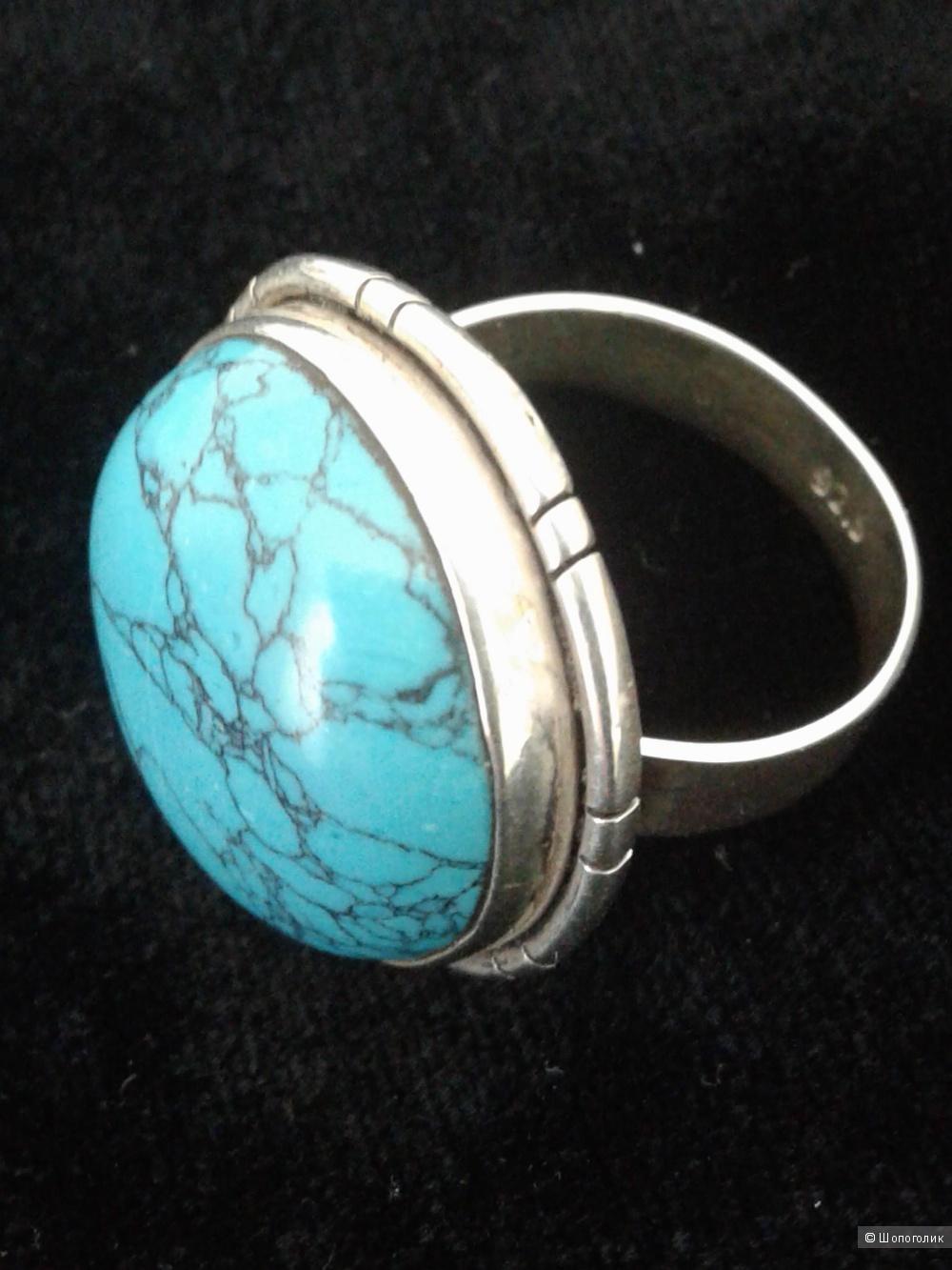 Кольцо с бирюзой, серебро 925