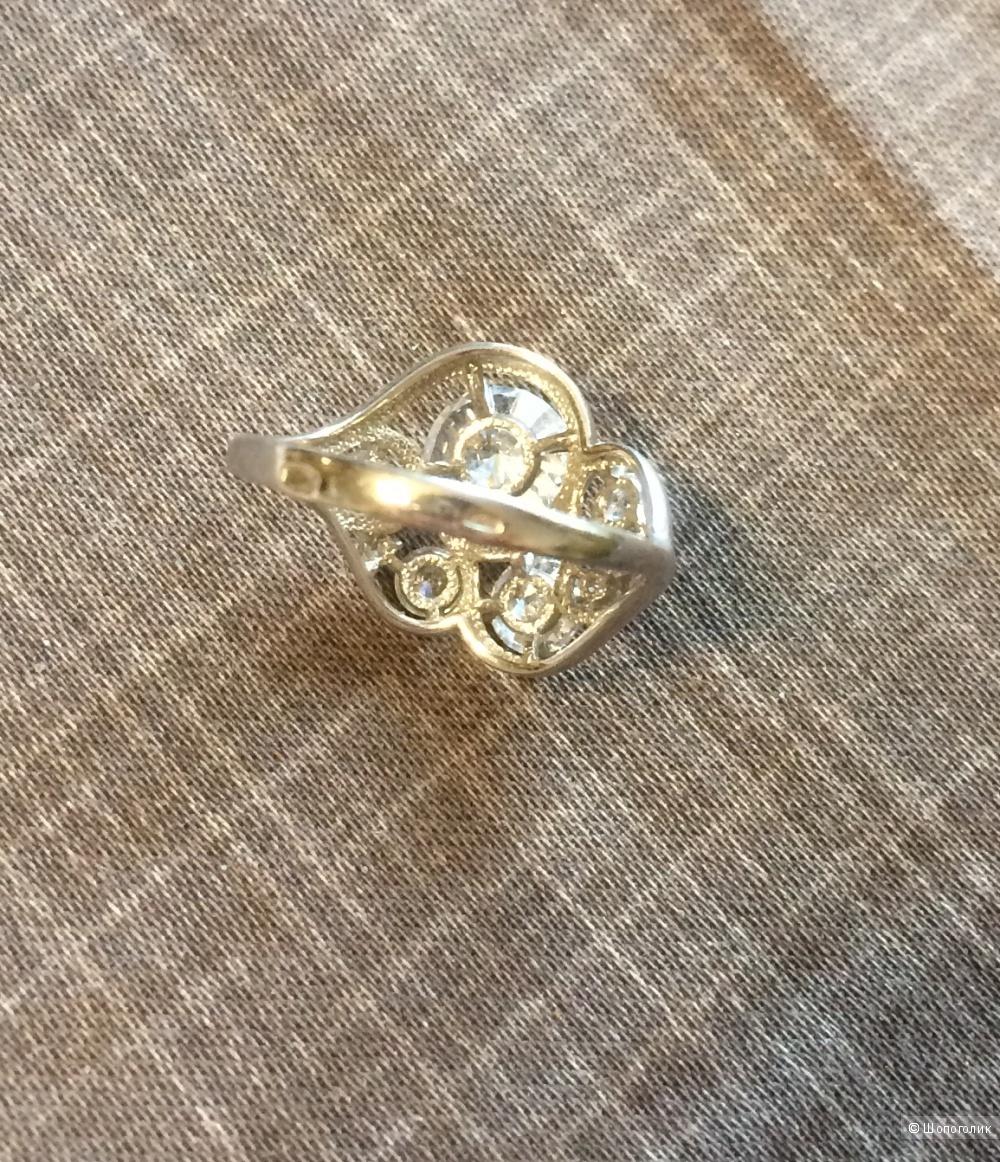 Кольцо серебро 925 вставки фианиты размер 16
