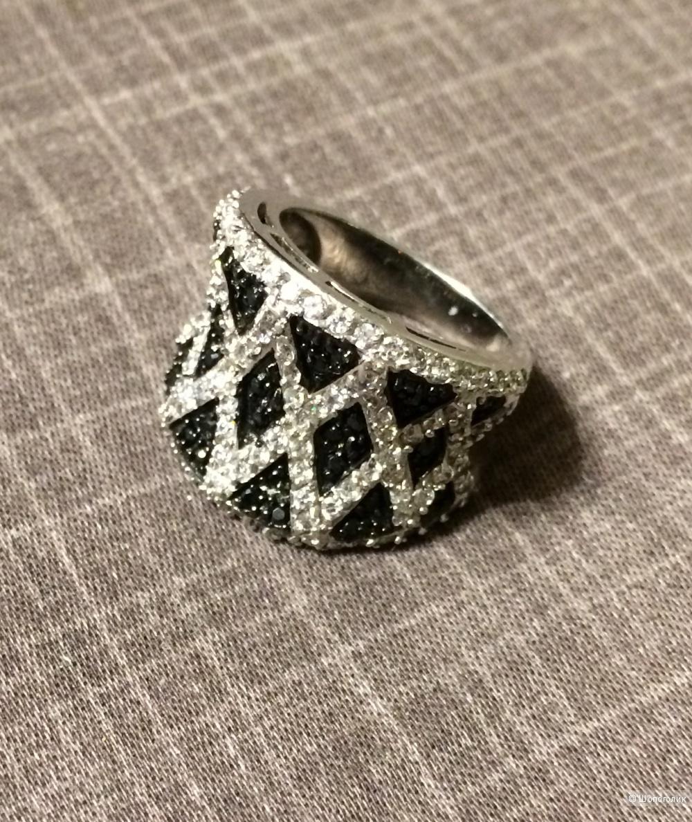 Широкое кольцо серебро 925, родий, размер 18
