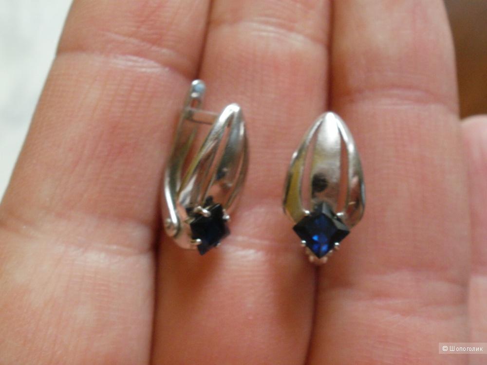 Серебряные серьги с сапфирами, SOКOLOV