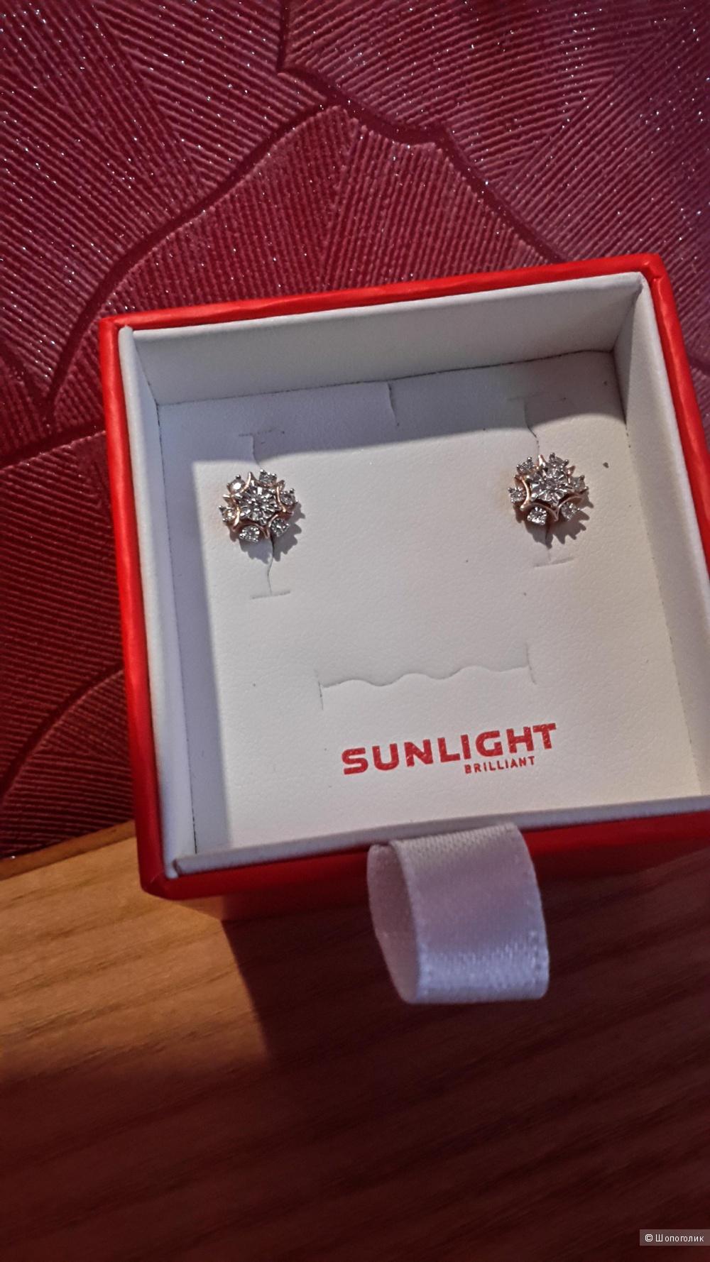 Золотые серьги - пуссеты с бриллиантами