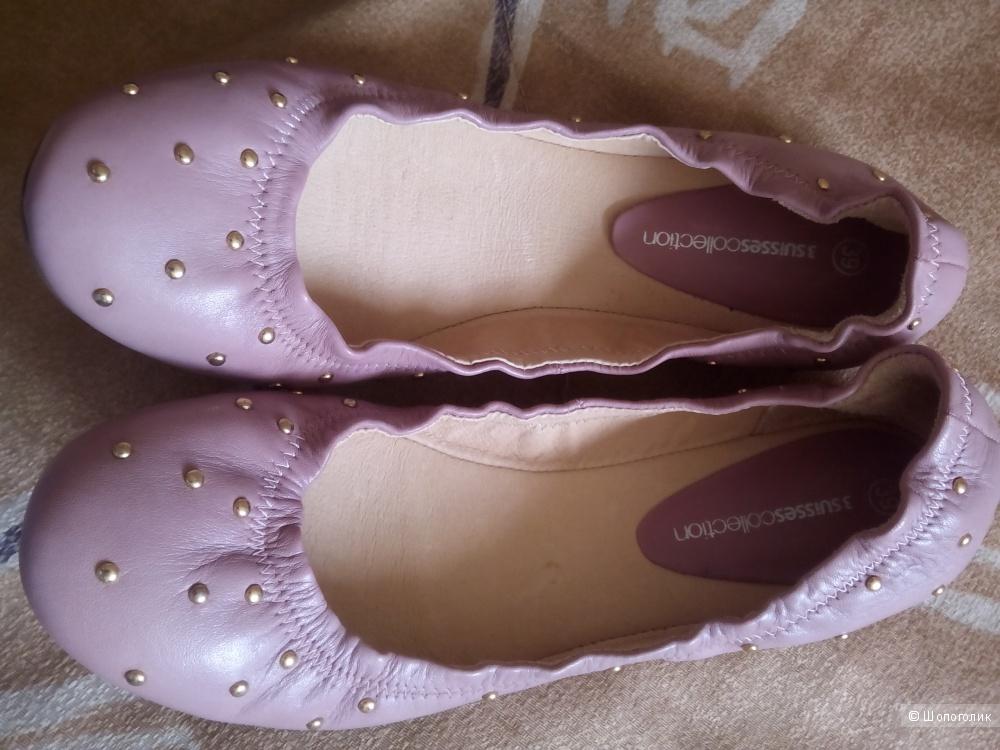 Кожаные балетки 3suisses 39 европейский