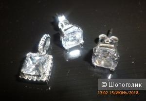 Комплект серьги-пусеты + подвеска (серебро, фианиты), SOKOLOV
