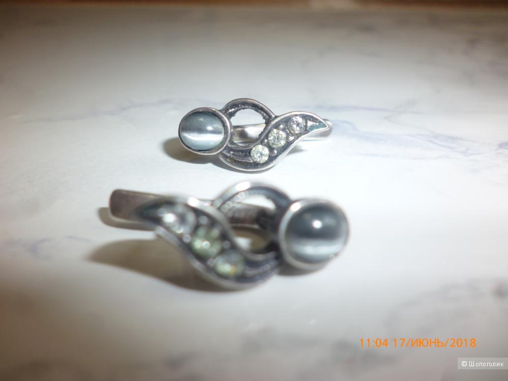 Серьги из серебра 925 пробы (кошачий глаз+фианиты)