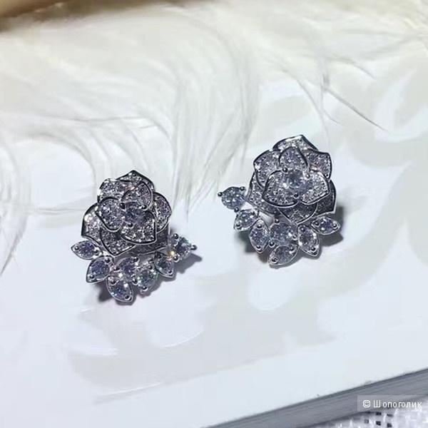 Серьги серебряные Розы с фианитами