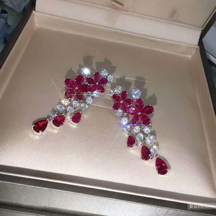 Серьги серебряные Цветы с рубелитами