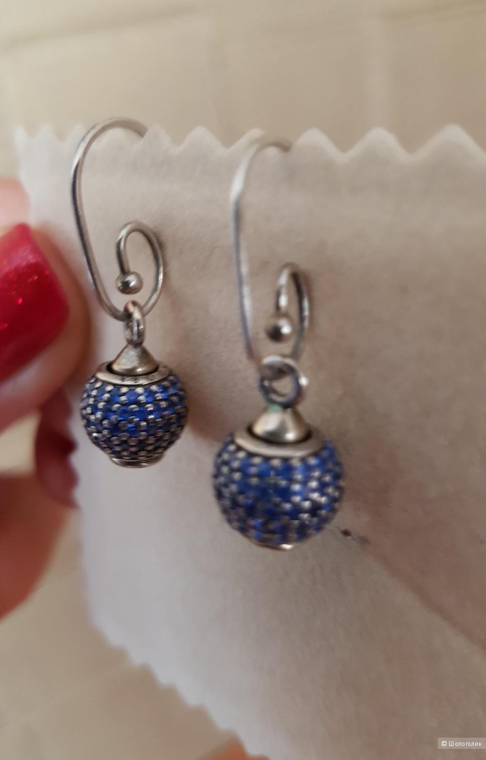 """Серьги Pandora, шармы """"Голубой шар"""""""