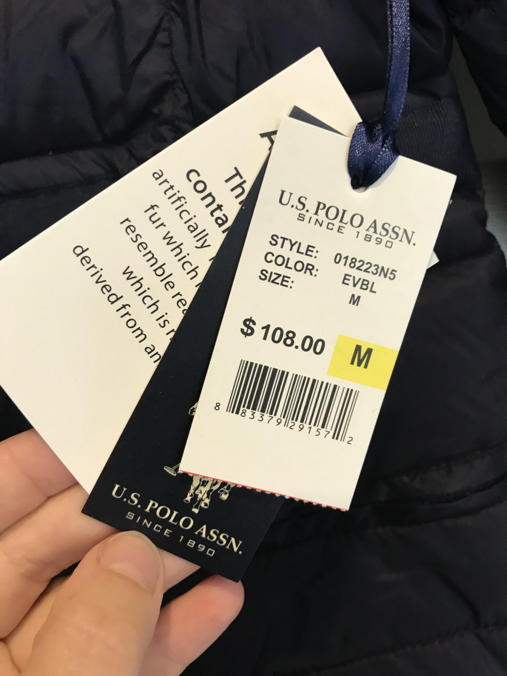 Пуховик зимний us polo assn, размер м