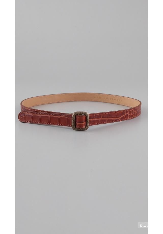 Темно-коричневый кожаный ремень Elie Tahari