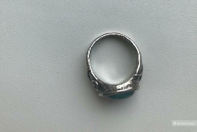 Кольцо из серебра DENO с натуральной бирюзой, размер 17.