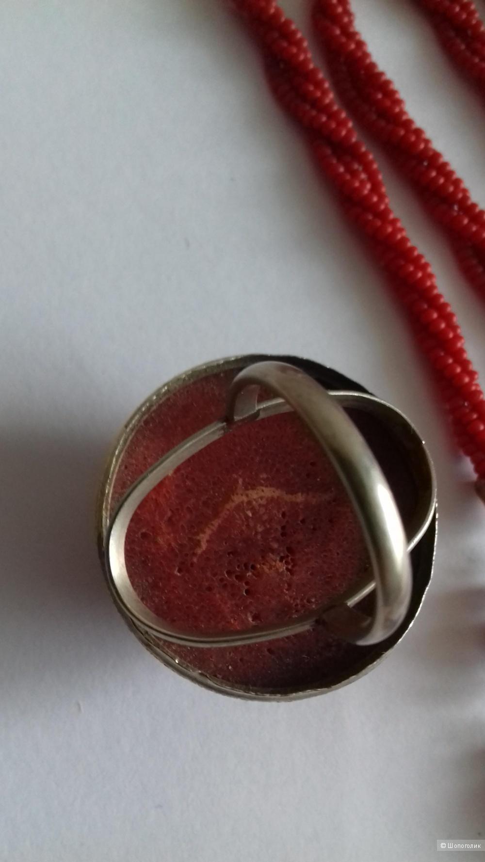 Сет ( коралл ) кольцо и ремень-шнурок.