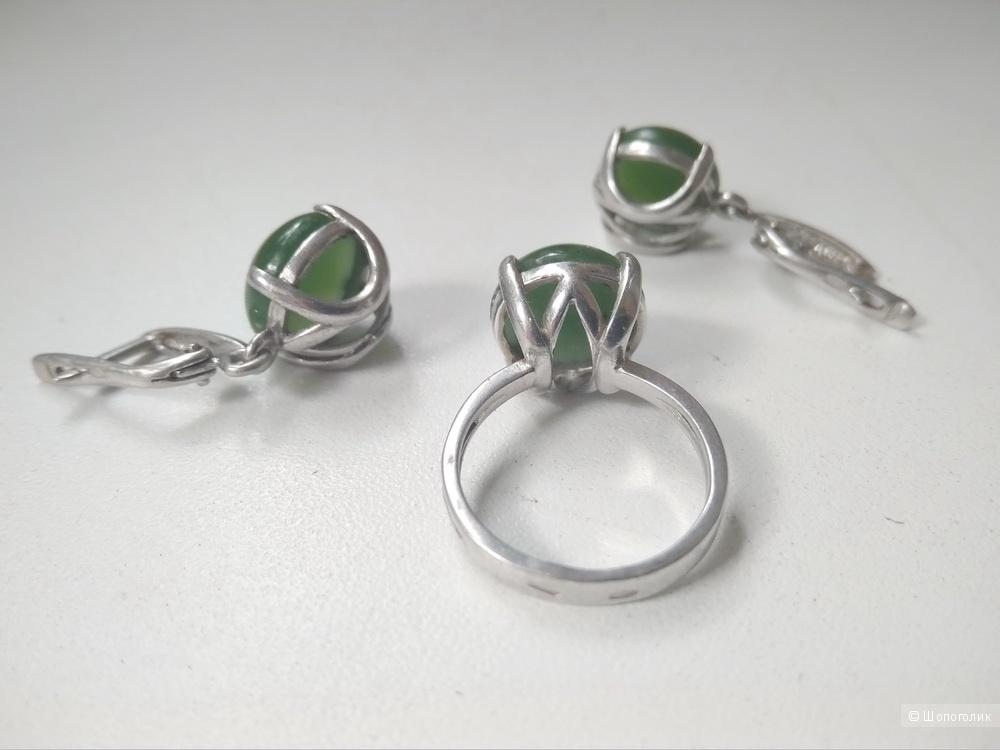 Комплект серьги и кольцо 16 размер серебро 925 нефрит