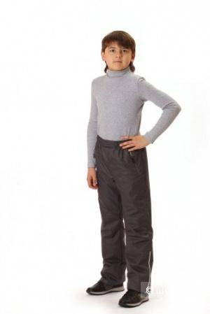 Брюки для мальчика деми на флисе Sova 134 и 152р серый и синий