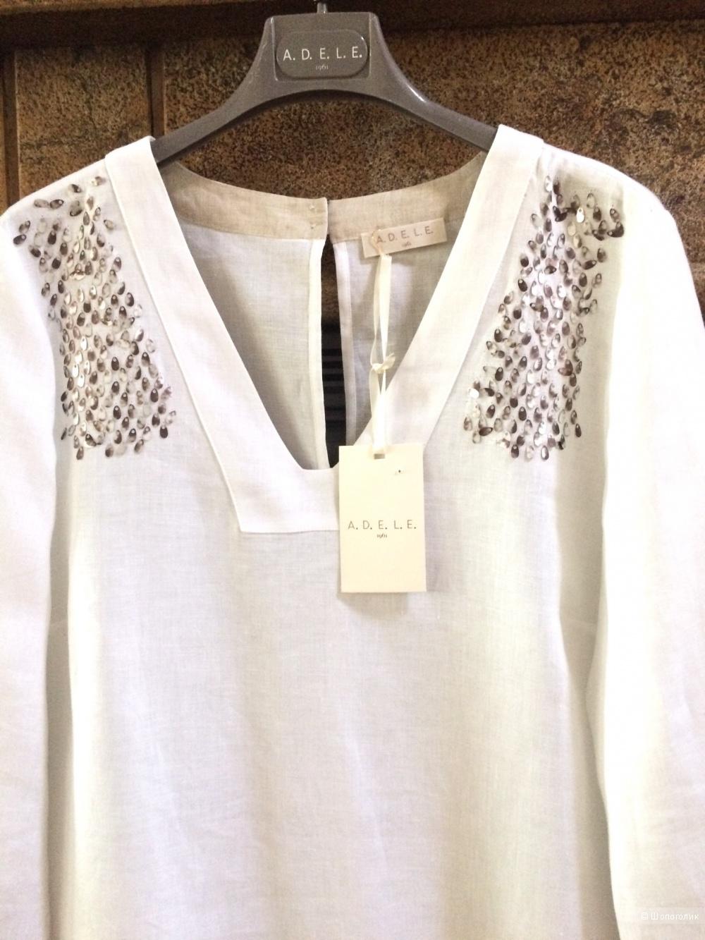 Льняное платье-туника A.D.E.L.E. 1961,размер 48-50-52