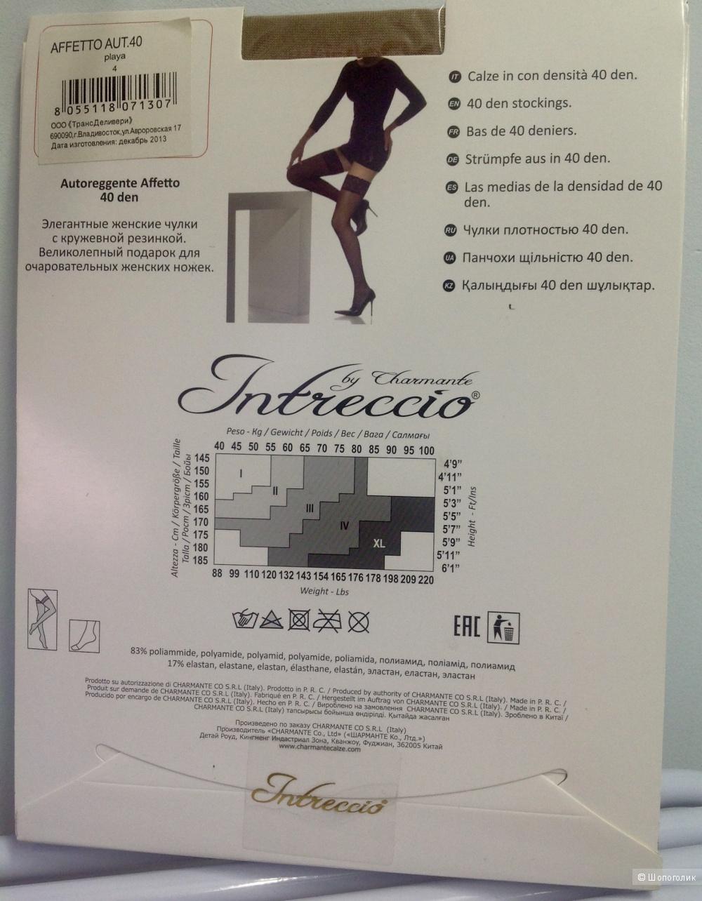 Чулки с кружевной резинкой INTRECCIO by Charmante размер 4
