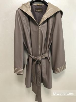 Удлиненная кожаная куртка CRAME, размер 58