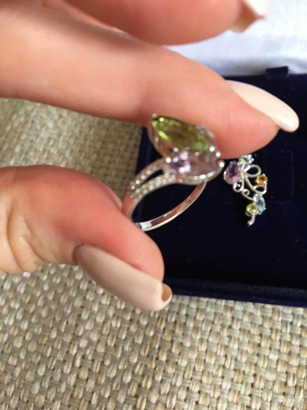 Серебряные серьги и кольцо с полудрагоценными камнями, Sokolov, размер 16,5
