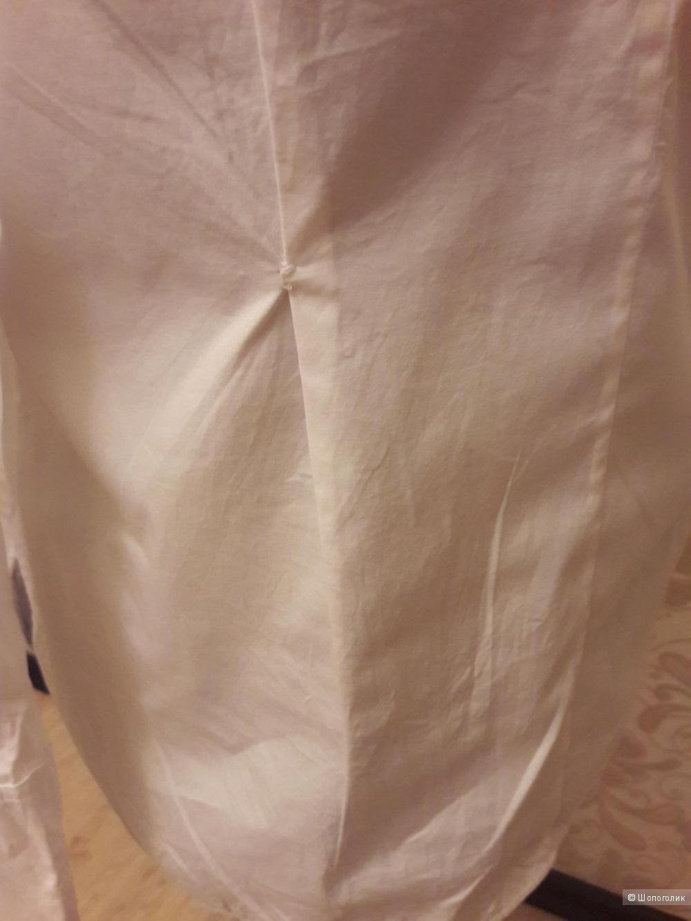 Massimo Dutti: белая хлопковая  рубашка,  44-46