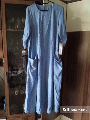 Платье Akimbo размер 48 цвет голубой с узором