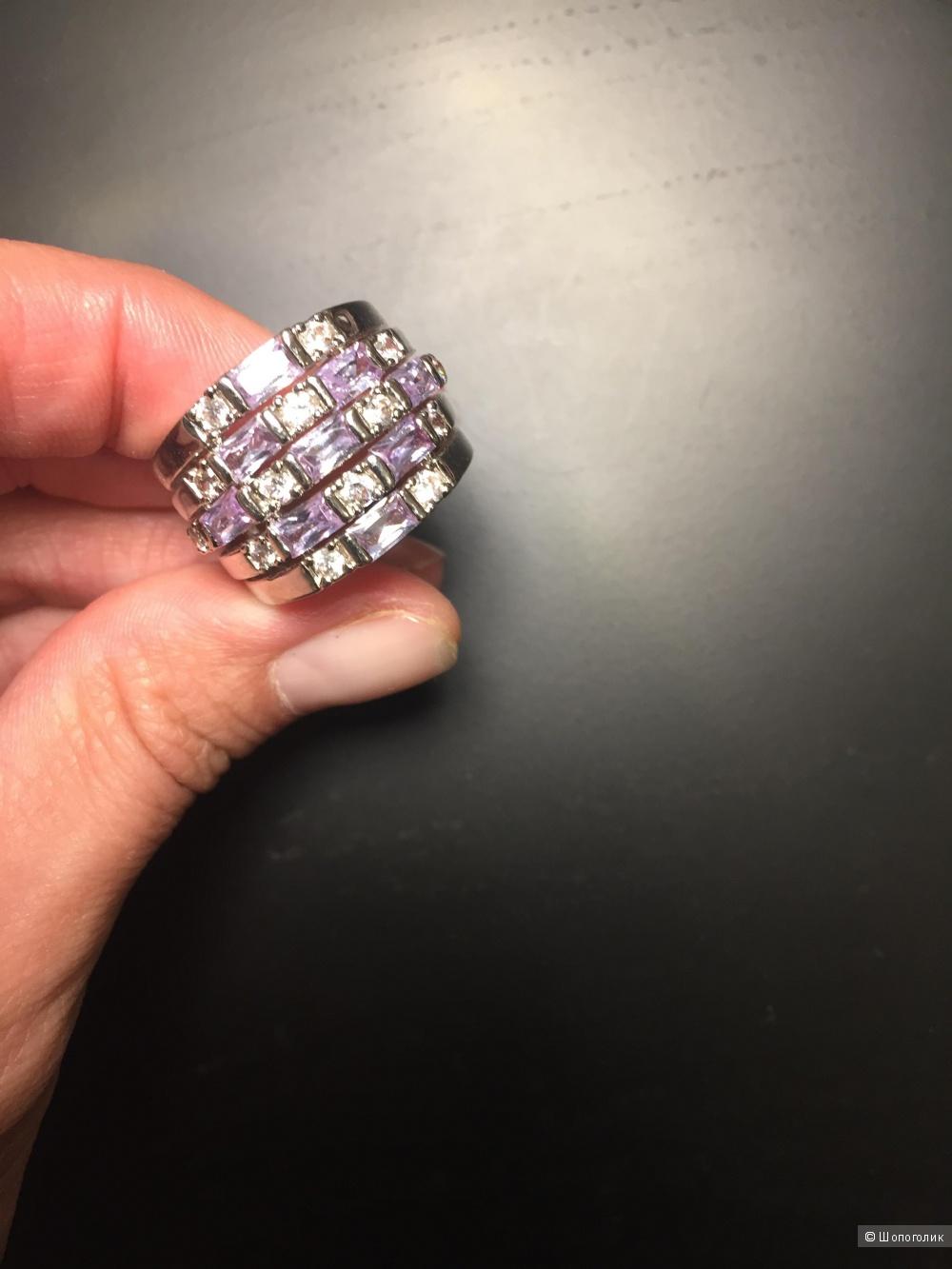 Кольцо с родиевым покрытием элитной французской бижутерии