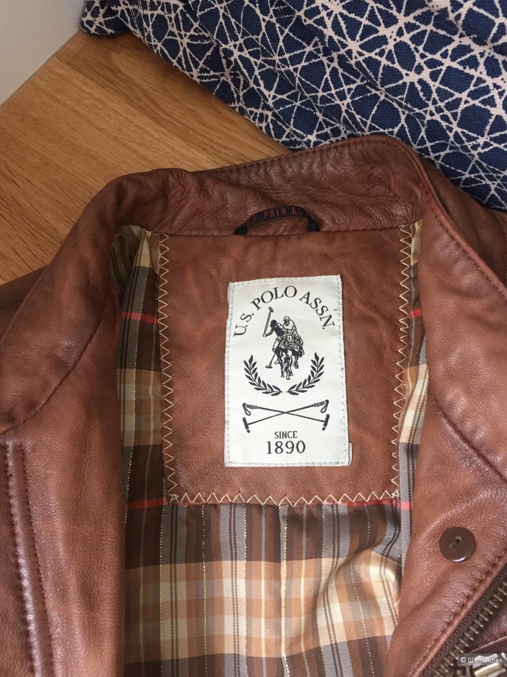 Кожаная куртка U.S. Polo ASSN (маркировка 38 идёт на 44 р.)