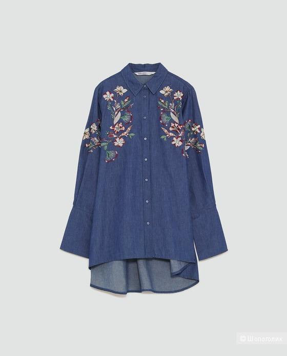 Джинсовая рубашка с вышивкой ZARA, размер М