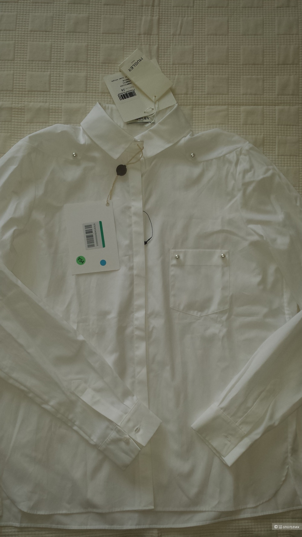 Белая рубашка MUGLER, 38 FR, 44 рус.