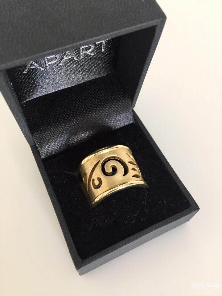 Кольцо Apart с рельефным рисунком  из позолоченного стерлингового серебра