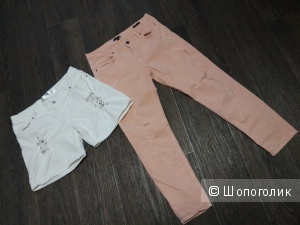 Сет из шорт и брюк из денима размер 44