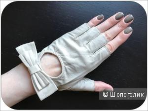 Перчатки - митенки (натуральная кожа), размер 7 (L)