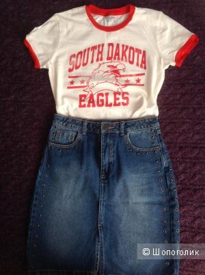 Комплект, юбка/STRADIVARIUS+футболка/Brave Soul Dakota Eagles, разм. 42-44 (рос.)