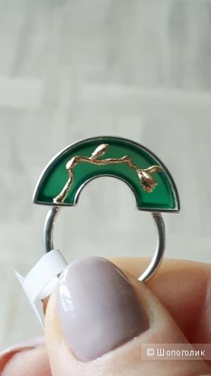 Кольцо из серебра 925 пробы с агатом от Lotus Fun,17 размер.