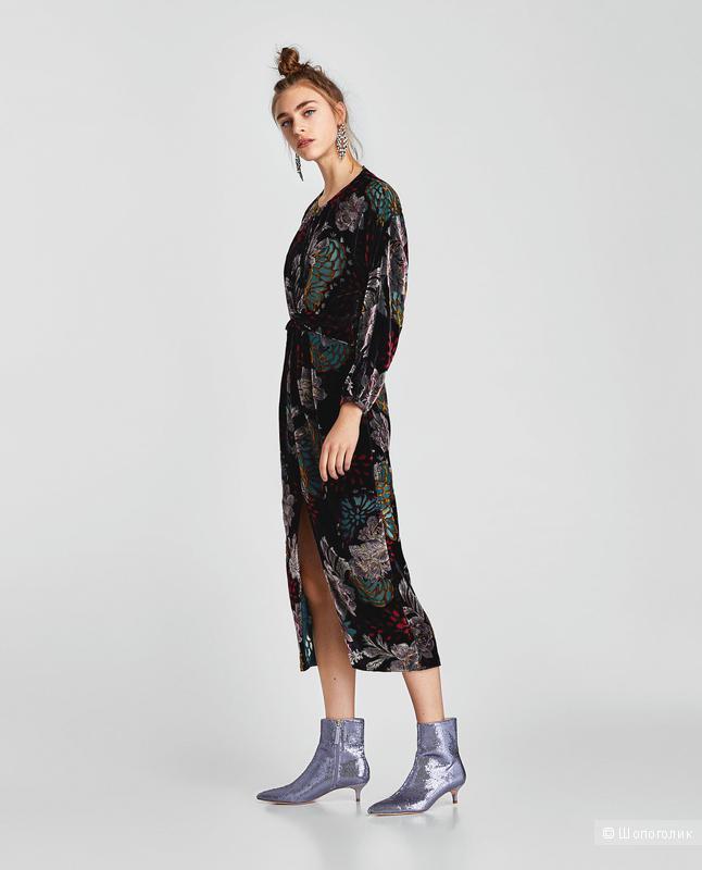 Бархатное платье Zara XS
