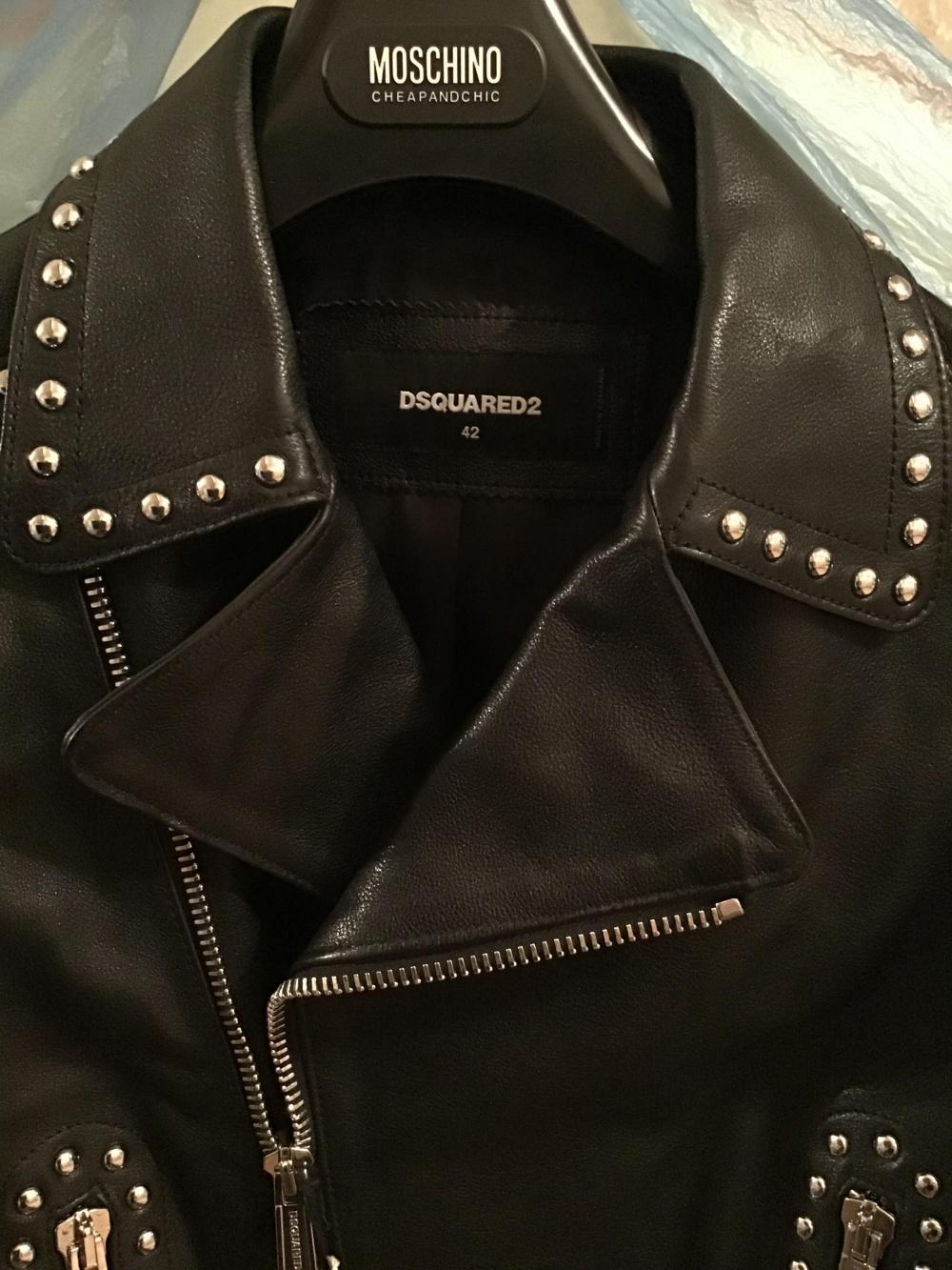 Кожаная куртка косуха DSQUARED2,42 IT (44 RUS)