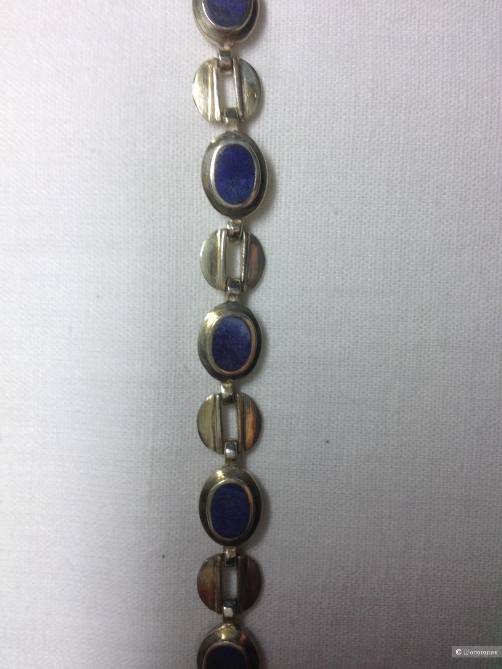 Серебряный браслет с лазуритами 925 проба