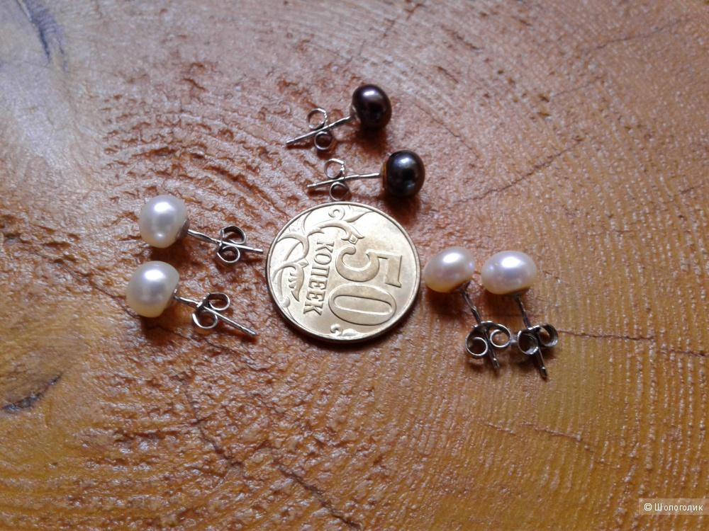 Серьги-пусеты серебрянные с жемчугом, сет из 3-х пар