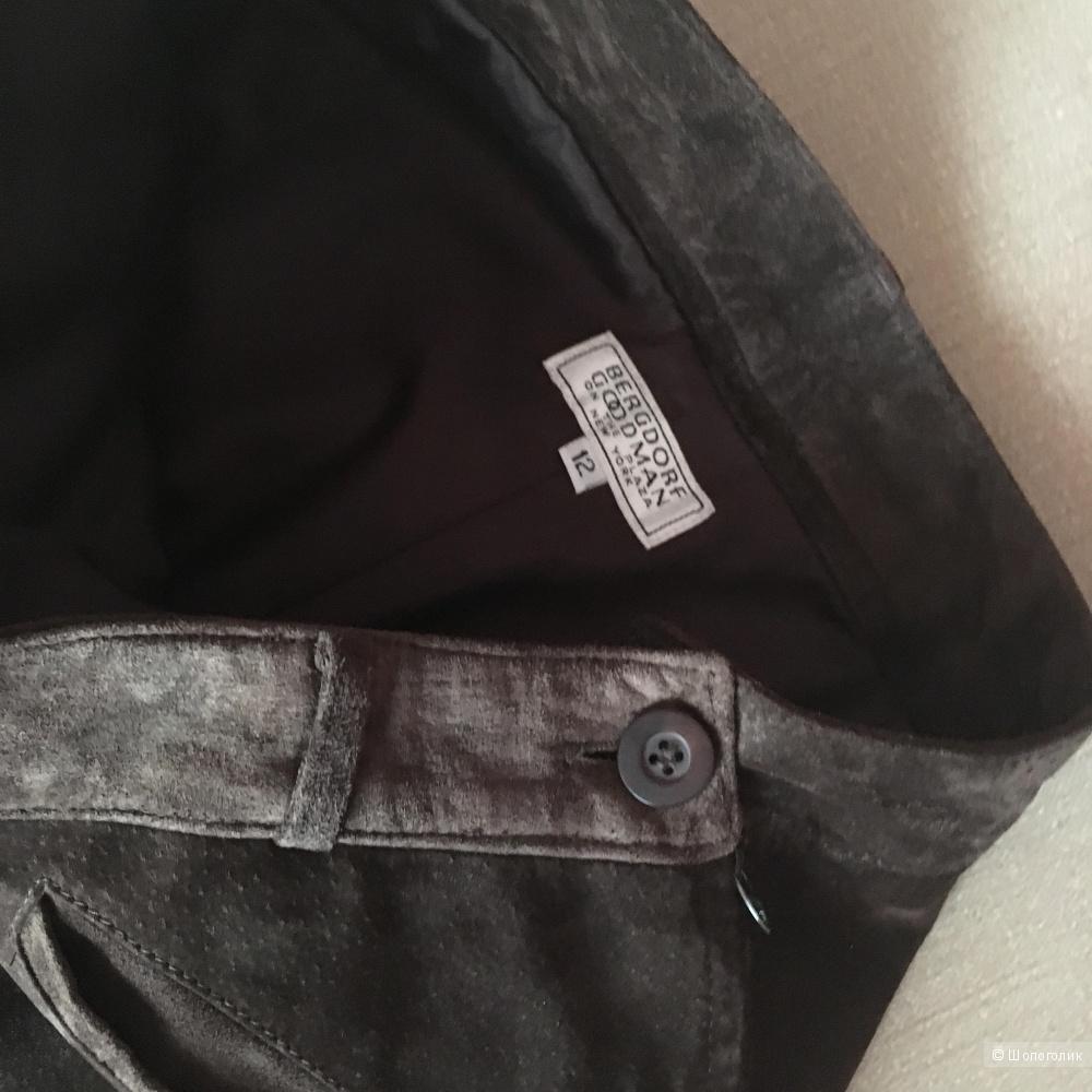 Замшевые брюки Bergdorf Goodman, us 12