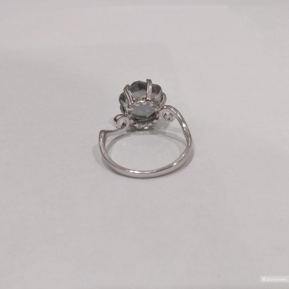Кольцо-перстень, серебро 925, топаз 5,7 карат, размер 17-18