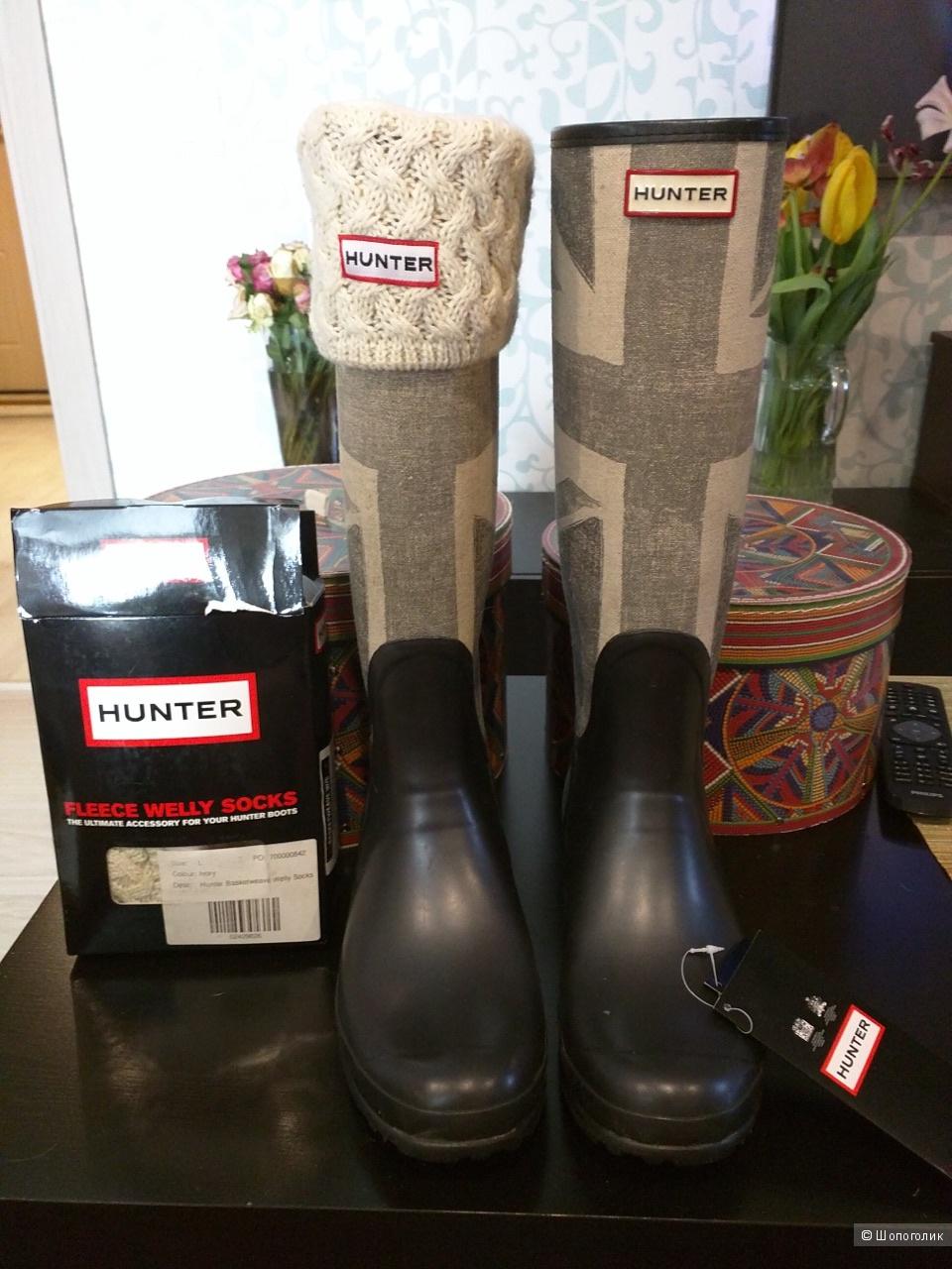 Сапоги HUNTER  Boots Union Jack UK Flag 11US в комплекте с гетрами HUNTER