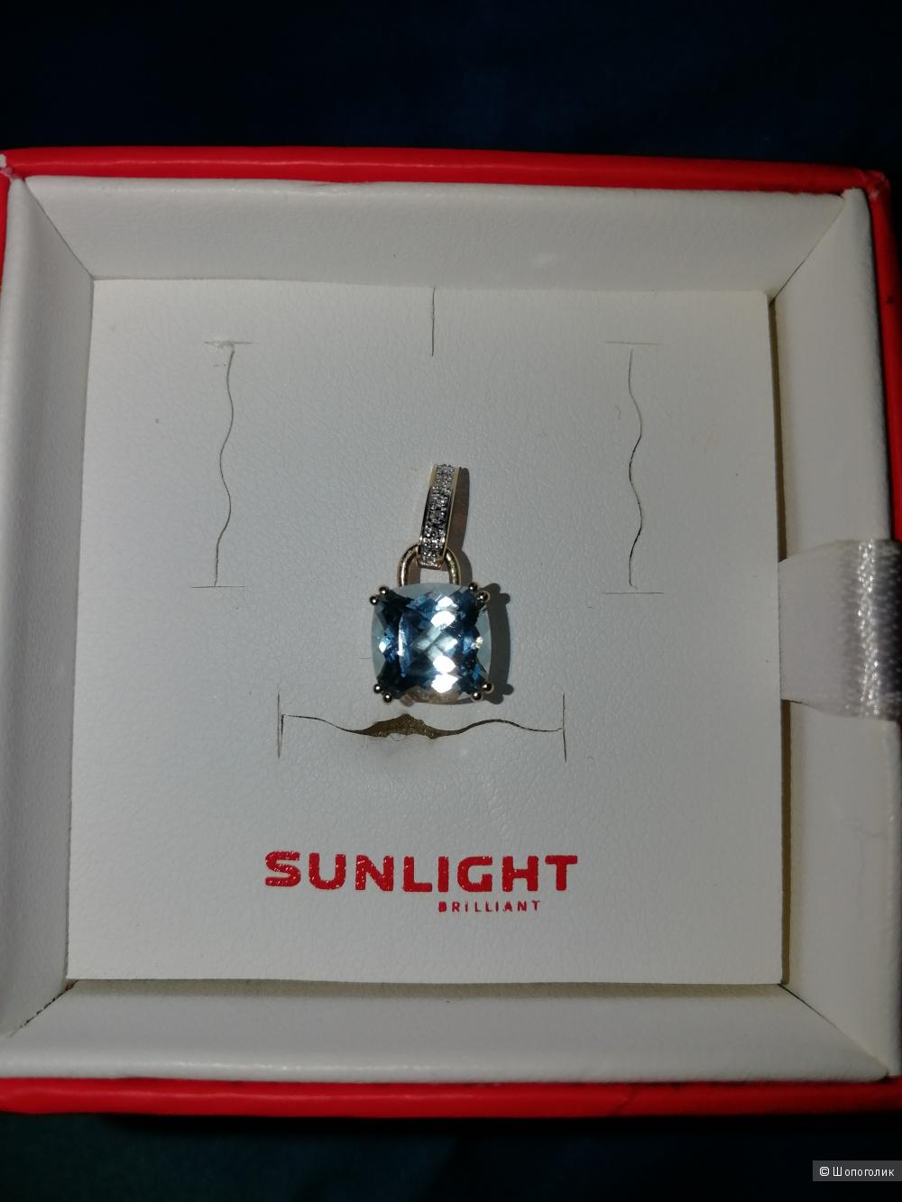 Золотая подвеска с бриллиантами и топазом, Sunlight