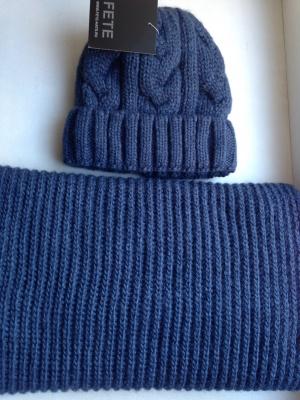 """Комплект шапка и снуд  """" Fete """", универсальный размер."""