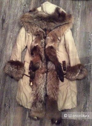 Пуховик CanadaSky с мехом волка, 48-50 р( XL)