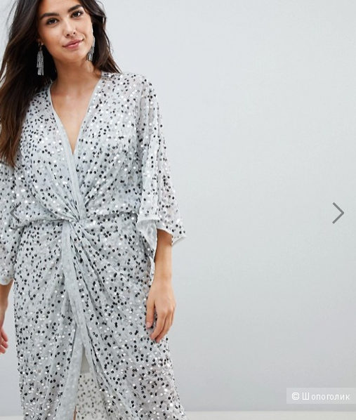 Платье - кимоно ASOS, размер UK 10, цвет Ice grey (серебристый)