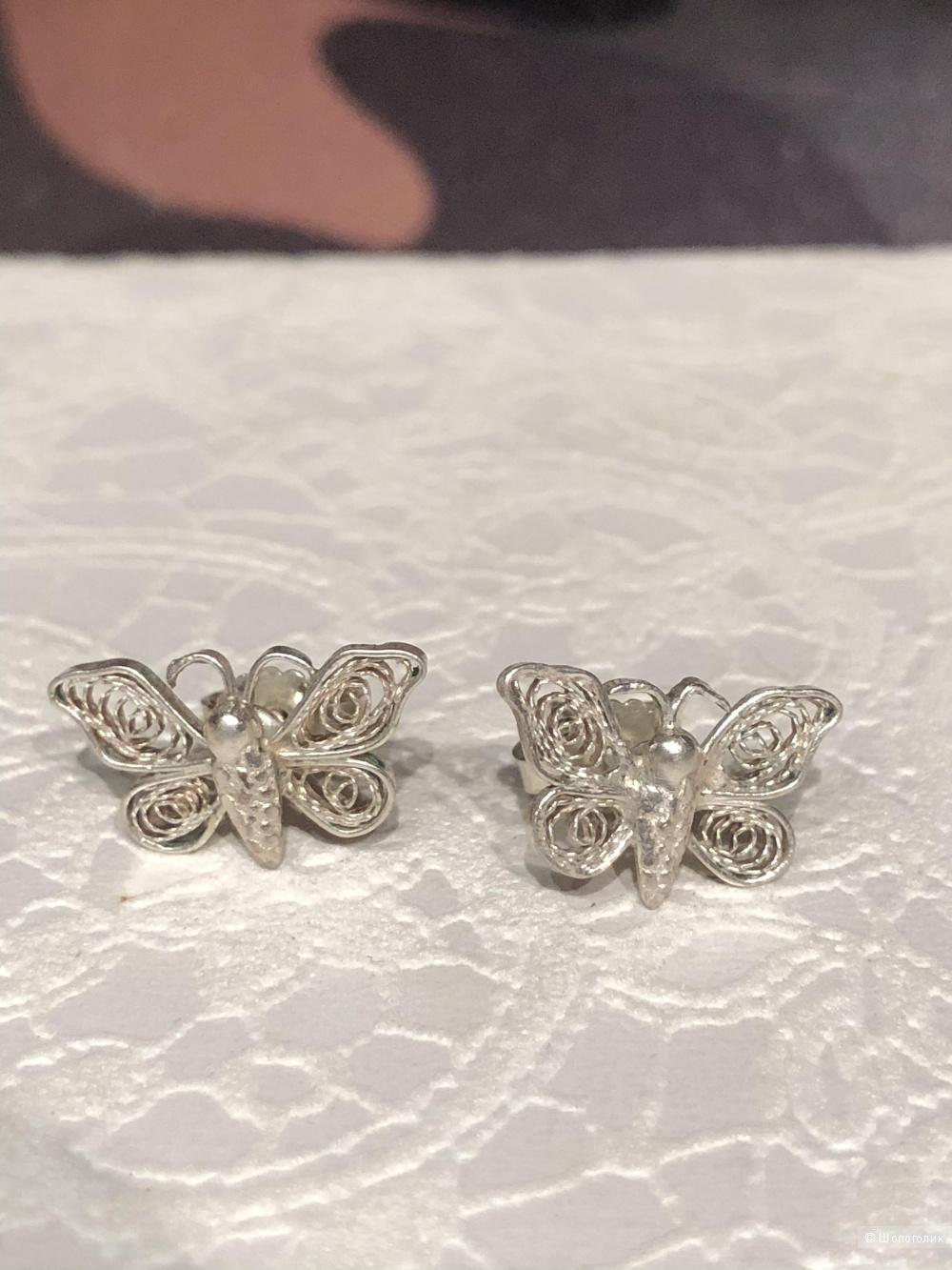 Серьги «бабочки» серебро