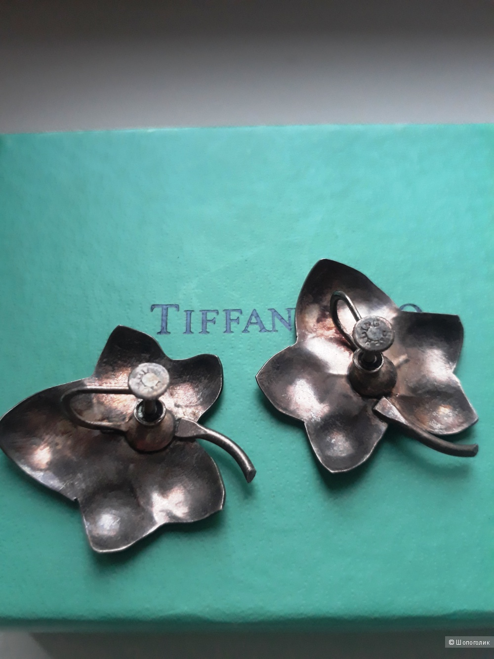 Винтажные серебряные серьги.